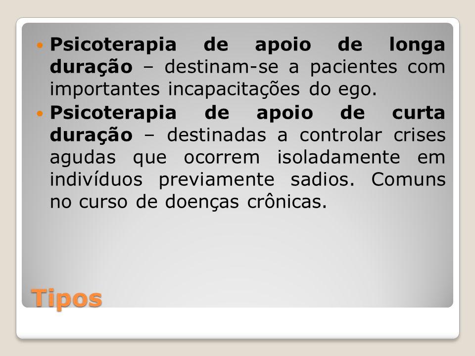Tipos Psicoterapia de apoio de longa duração – destinam-se a pacientes com importantes incapacitações do ego. Psicoterapia de apoio de curta duração –