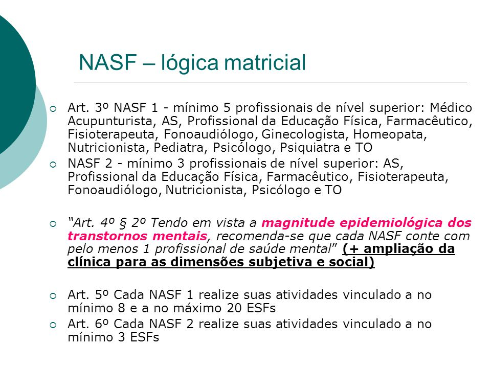 NASF – lógica matricial  Art. 3º NASF 1 - mínimo 5 profissionais de nível superior: Médico Acupunturista, AS, Profissional da Educação Física, Farmac