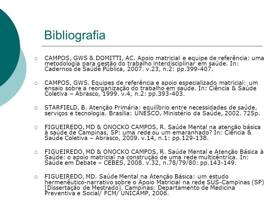 Bibliografia  CAMPOS, GWS & DOMITTI, AC. Apoio matricial e equipe de referência: uma metodologia para gestão do trabalho interdisciplinar em saúde. I