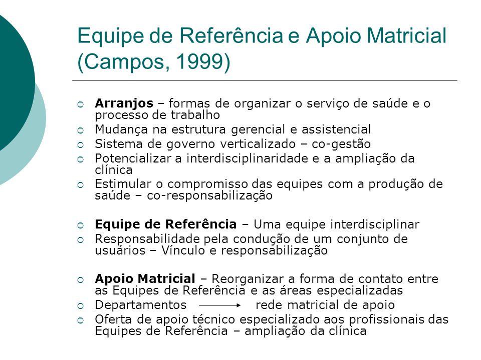 Equipe de Referência e Apoio Matricial (Campos, 1999)  Arranjos – formas de organizar o serviço de saúde e o processo de trabalho  Mudança na estrut