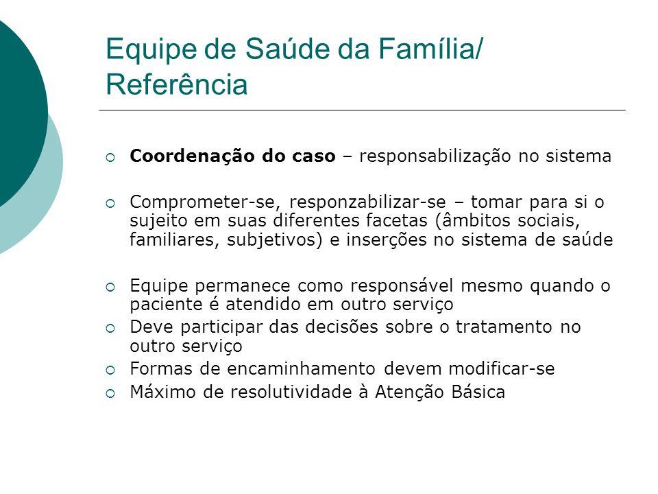 Equipe de Saúde da Família/ Referência  Coordenação do caso – responsabilização no sistema  Comprometer-se, responzabilizar-se – tomar para si o suj