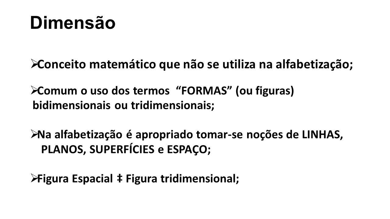 """Dimensão  Conceito matemático que não se utiliza na alfabetização;  Comum o uso dos termos """"FORMAS"""" (ou figuras) bidimensionais ou tridimensionais;"""