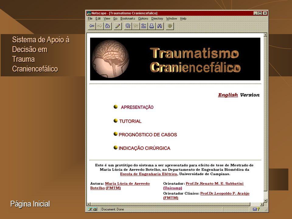 Sistema de Apoio à Decisão em Trauma Craniencefálico Página Inicial