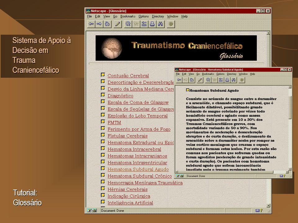 Sistema de Apoio à Decisão em Trauma Craniencefálico Tutorial: Glossário