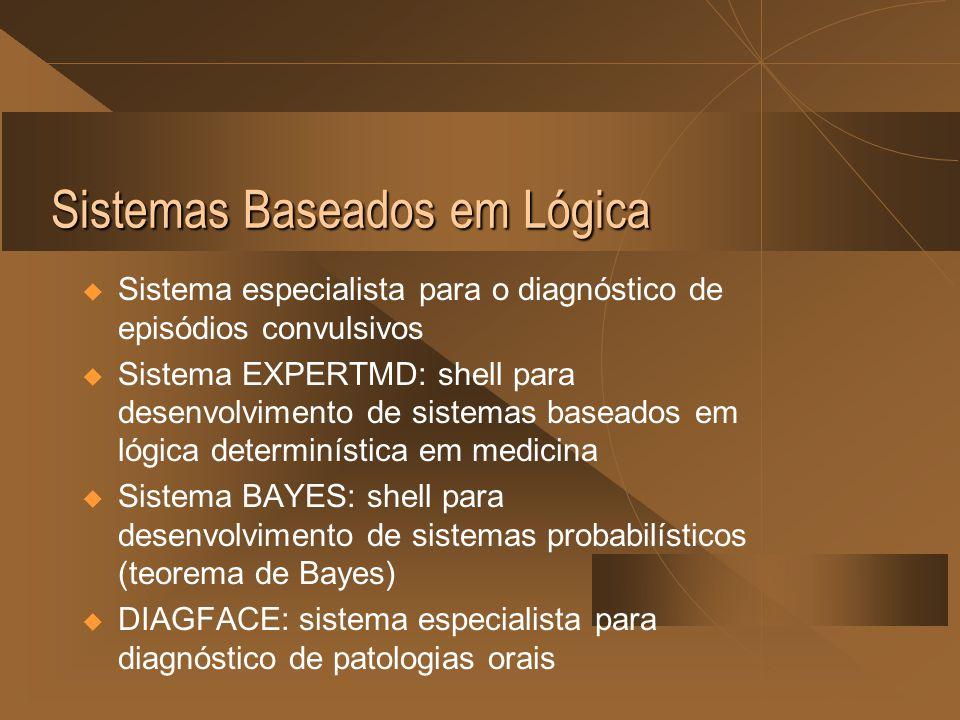 Sistemas Baseados em Lógica  Sistema especialista para o diagnóstico de episódios convulsivos  Sistema EXPERTMD: shell para desenvolvimento de sistemas baseados em lógica determinística em medicina  Sistema BAYES: shell para desenvolvimento de sistemas probabilísticos (teorema de Bayes)  DIAGFACE: sistema especialista para diagnóstico de patologias orais