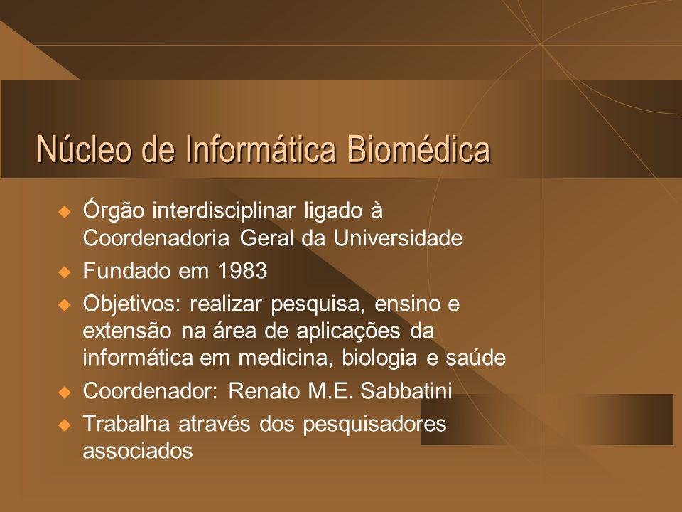 Núcleo de Informática Biomédica  Órgão interdisciplinar ligado à Coordenadoria Geral da Universidade  Fundado em 1983  Objetivos: realizar pesquisa