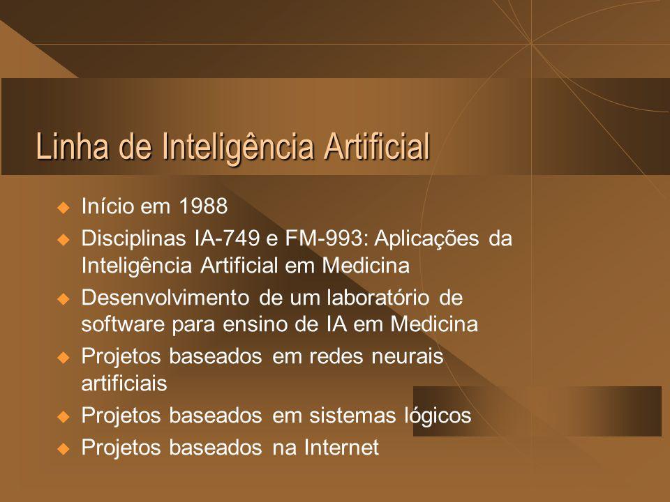 Linha de Inteligência Artificial  Início em 1988  Disciplinas IA-749 e FM-993: Aplicações da Inteligência Artificial em Medicina  Desenvolvimento de um laboratório de software para ensino de IA em Medicina  Projetos baseados em redes neurais artificiais  Projetos baseados em sistemas lógicos  Projetos baseados na Internet