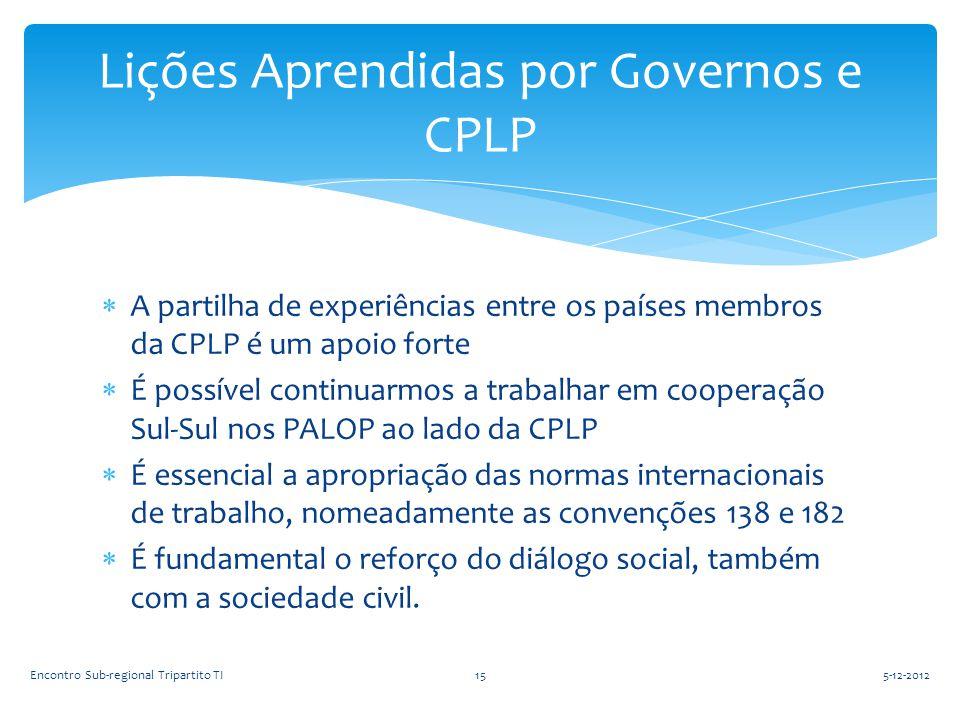  A partilha de experiências entre os países membros da CPLP é um apoio forte  É possível continuarmos a trabalhar em cooperação Sul-Sul nos PALOP ao