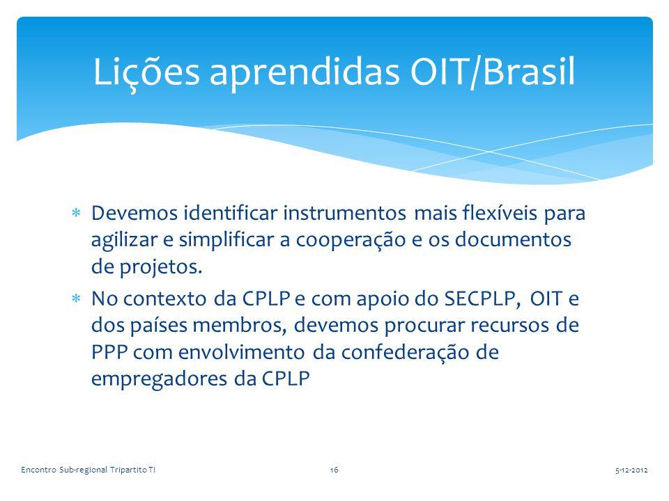  Devemos identificar instrumentos mais flexíveis para agilizar e simplificar a cooperação e os documentos de projetos.  No contexto da CPLP e com ap