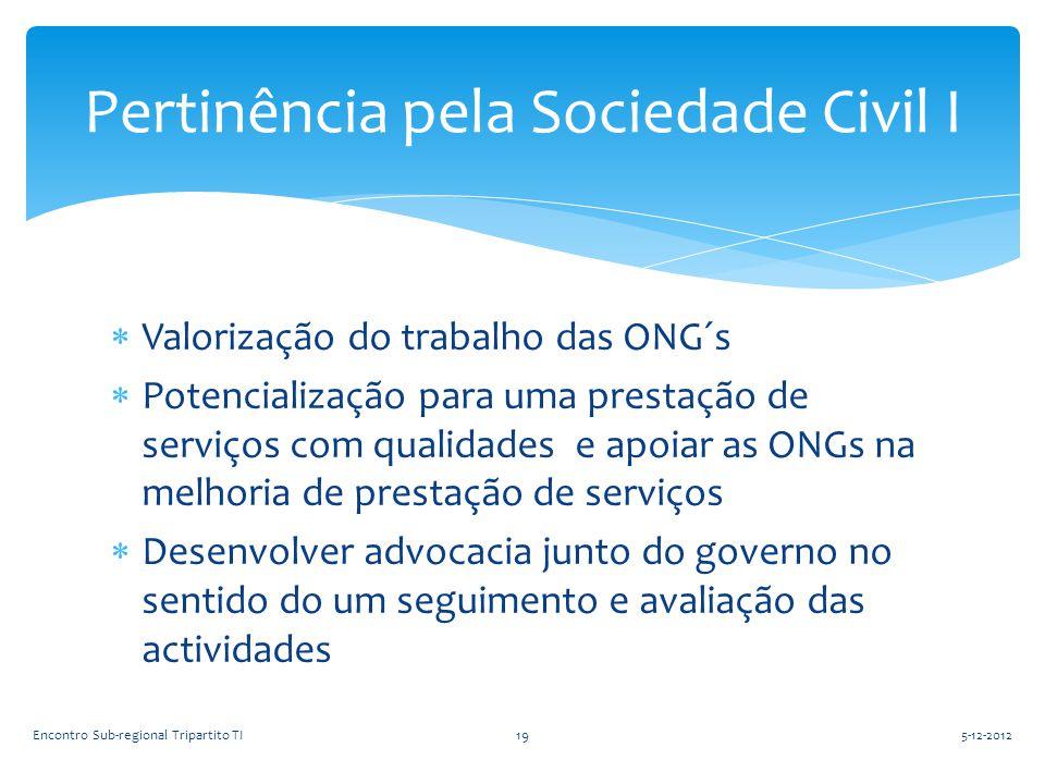 Valorização do trabalho das ONG´s  Potencialização para uma prestação de serviços com qualidades e apoiar as ONGs na melhoria de prestação de servi