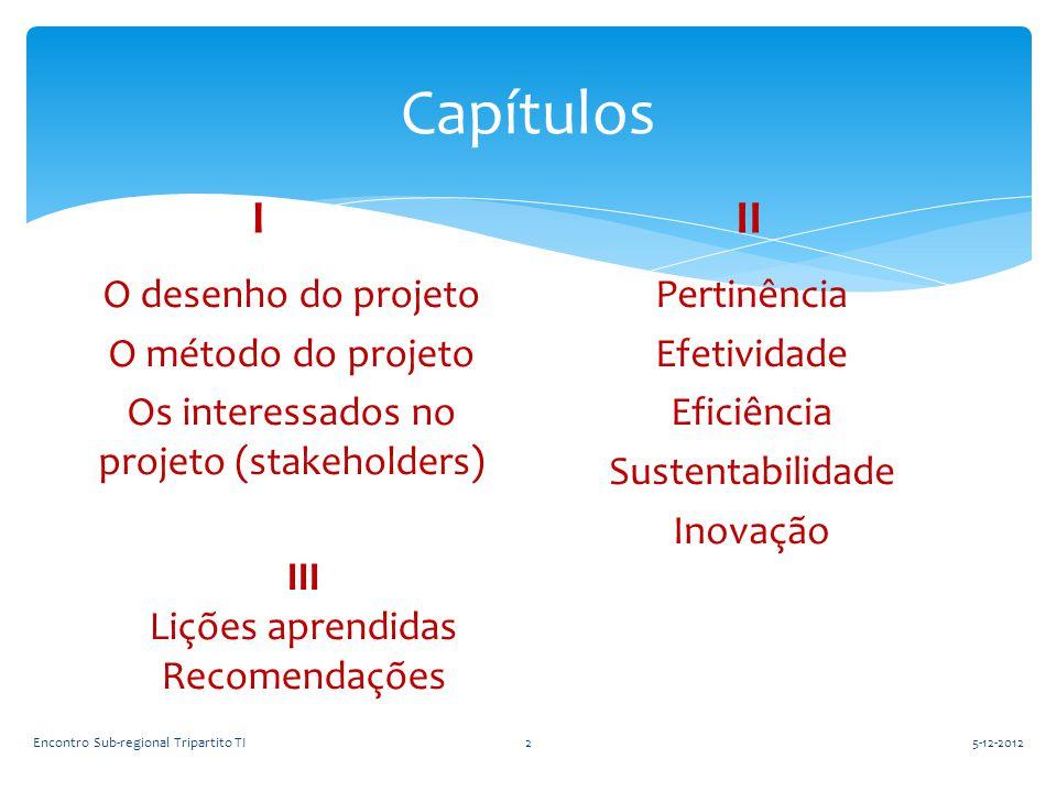 Capítulos I O desenho do projeto O método do projeto Os interessados no projeto (stakeholders) II Pertinência Efetividade Eficiência Sustentabilidade
