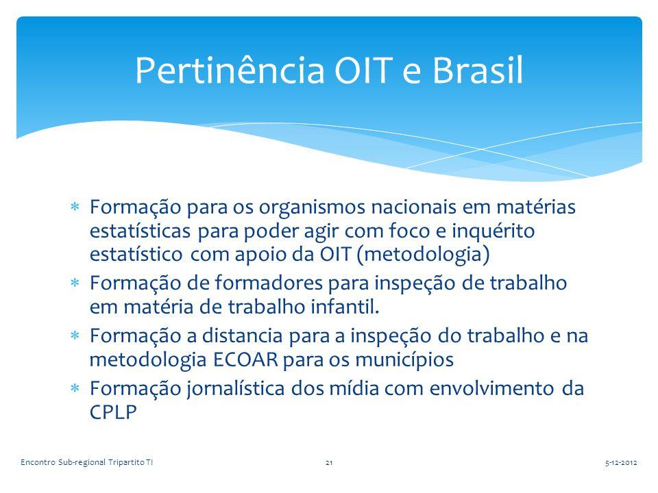  Formação para os organismos nacionais em matérias estatísticas para poder agir com foco e inquérito estatístico com apoio da OIT (metodologia)  For