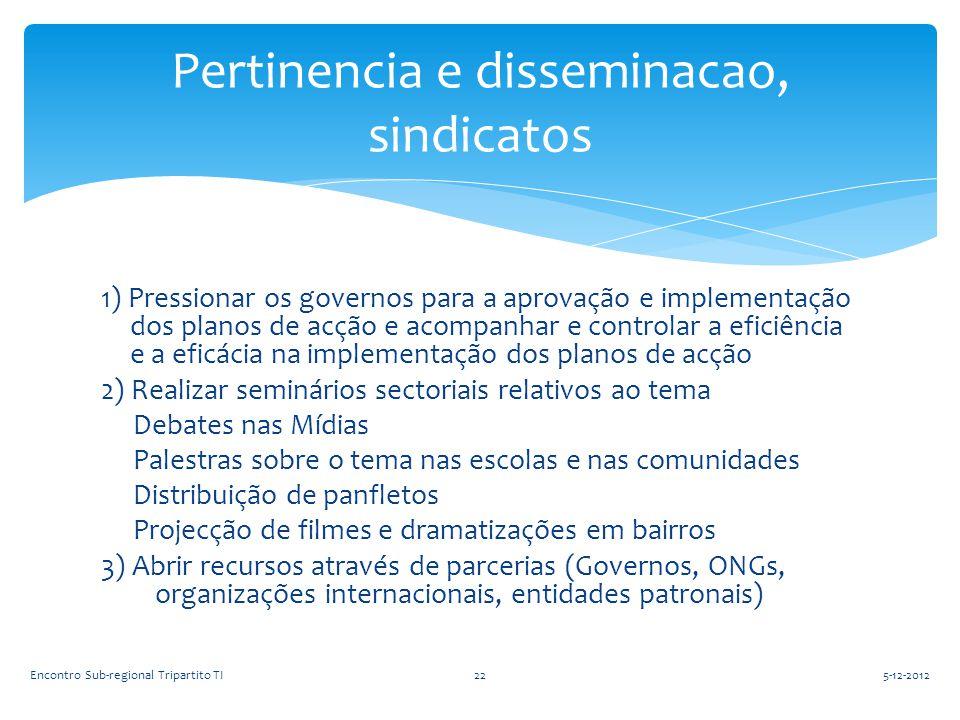 1) Pressionar os governos para a aprovação e implementação dos planos de acção e acompanhar e controlar a eficiência e a eficácia na implementação dos