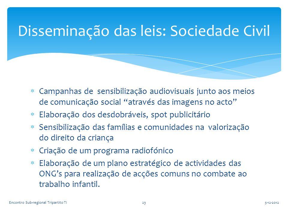 """ Campanhas de sensibilização audiovisuais junto aos meios de comunicação social """"através das imagens no acto""""  Elaboração dos desdobráveis, spot pub"""