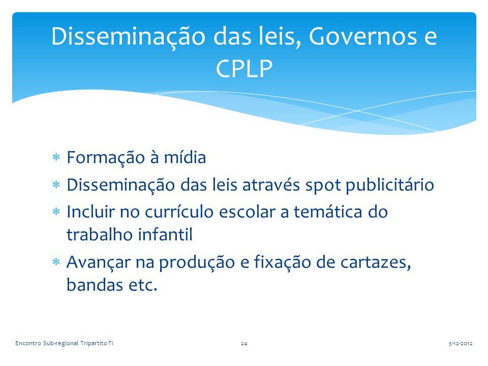  Formação à mídia  Disseminação das leis através spot publicitário  Incluir no currículo escolar a temática do trabalho infantil  Avançar na produ