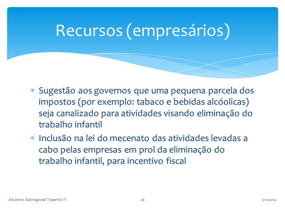  Sugestão aos governos que uma pequena parcela dos impostos (por exemplo: tabaco e bebidas alcóolicas) seja canalizado para atividades visando elimin