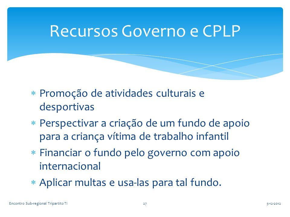  Promoção de atividades culturais e desportivas  Perspectivar a criação de um fundo de apoio para a criança vítima de trabalho infantil  Financiar