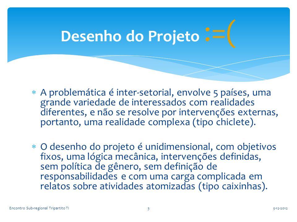  A problemática é inter-setorial, envolve 5 países, uma grande variedade de interessados com realidades diferentes, e não se resolve por intervenções