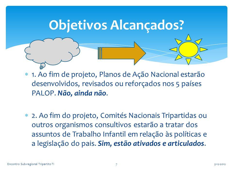  1. Ao fim de projeto, Planos de Ação Nacional estarão desenvolvidos, revisados ou reforçados nos 5 países PALOP. Não, ainda não.  2. Ao fim do proj
