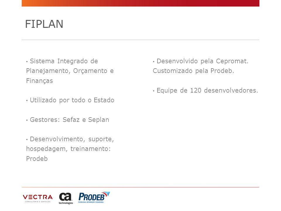 FIPLAN Sistema Integrado de Planejamento, Orçamento e Finanças Utilizado por todo o Estado Gestores: Sefaz e Seplan Desenvolvimento, suporte, hospedagem, treinamento: Prodeb Desenvolvido pela Cepromat.