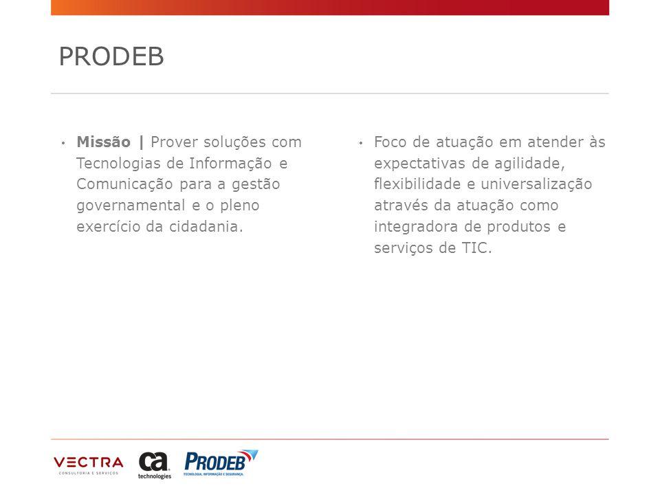 PRODEB Missão | Prover soluções com Tecnologias de Informação e Comunicação para a gestão governamental e o pleno exercício da cidadania.