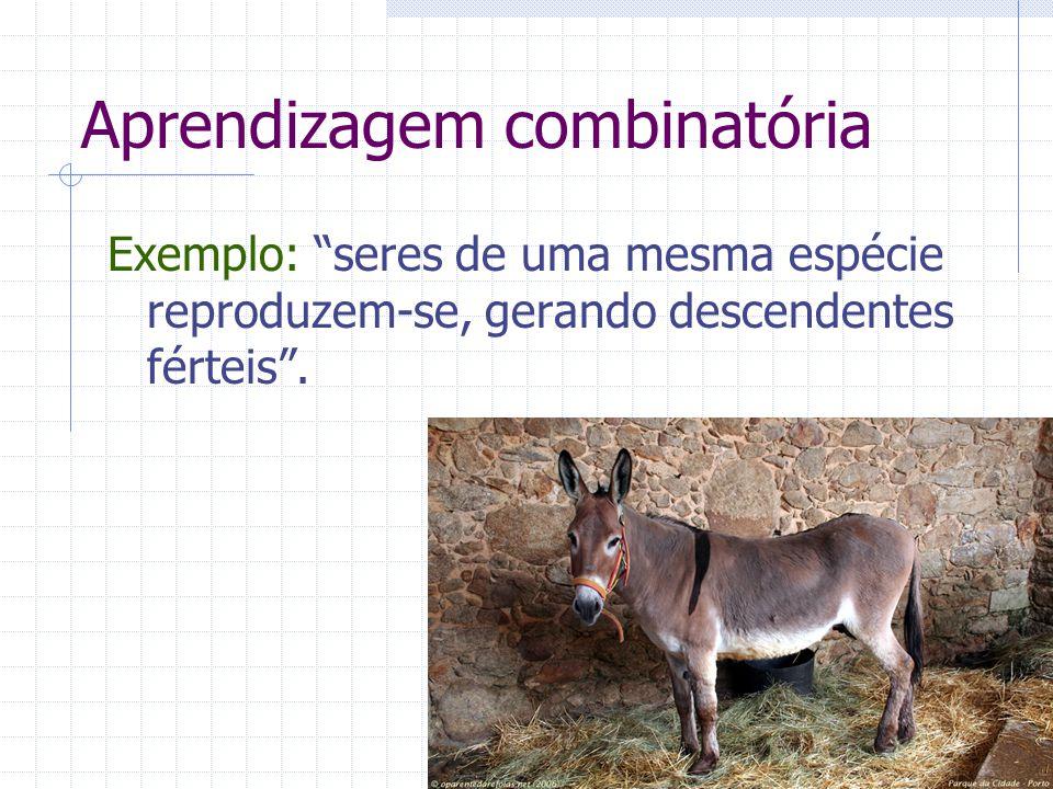 Aprendizagem combinatória Exemplo: seres de uma mesma espécie reproduzem-se, gerando descendentes férteis .