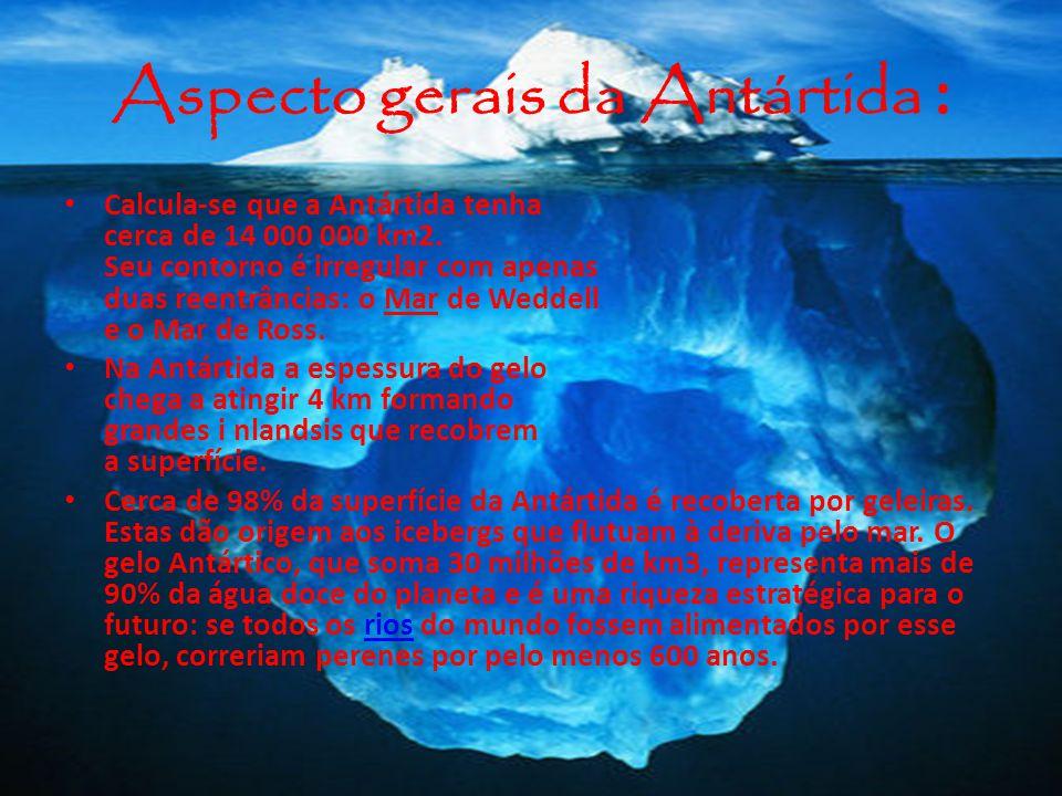 Aspecto gerais da Antártida : Calcula-se que a Antártida tenha cerca de 14 000 000 km2. Seu contorno é irregular com apenas duas reentrâncias: o Mar d