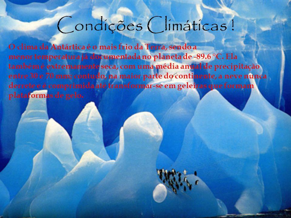 Condições Climáticas ! O clima da Antártica é o mais frio da Terra, sendo a menor temperatura já documentada no planeta de -89.6 °C. Ela também é extr