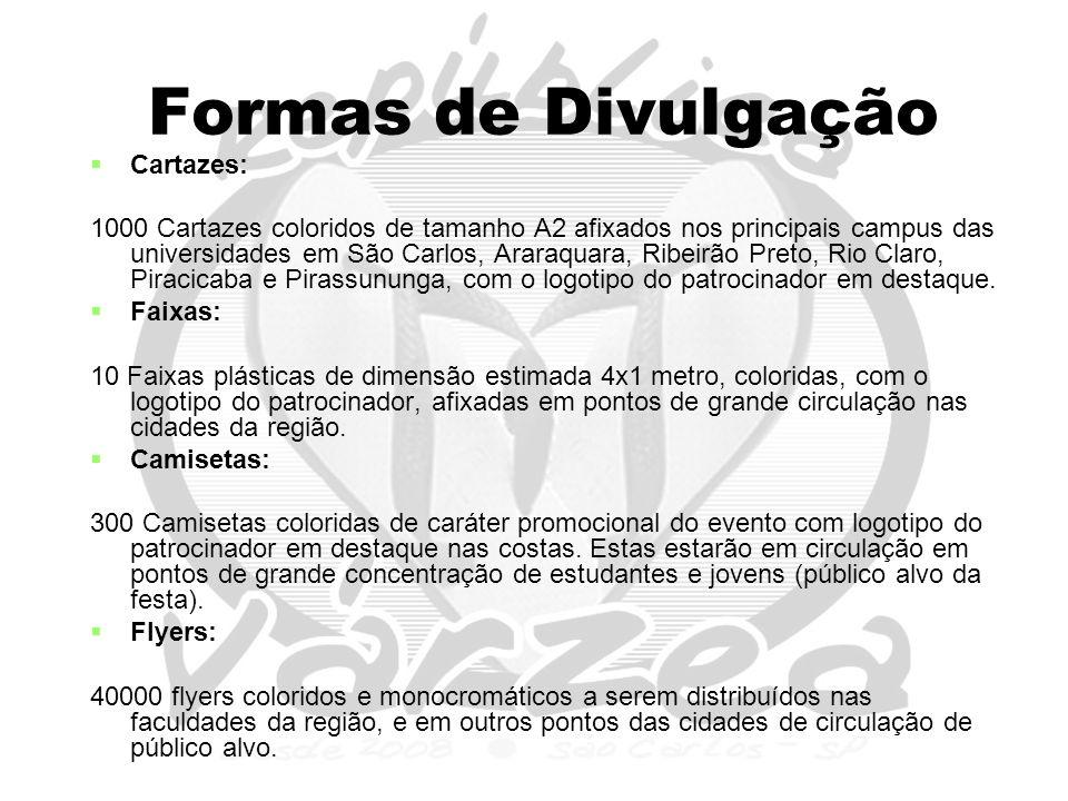 Formas de Divulgação   Cartazes: 1000 Cartazes coloridos de tamanho A2 afixados nos principais campus das universidades em São Carlos, Araraquara, Ribeirão Preto, Rio Claro, Piracicaba e Pirassununga, com o logotipo do patrocinador em destaque.