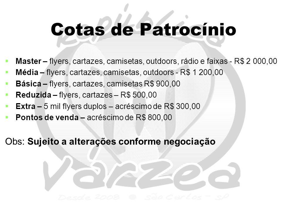Cotas de Patrocínio   Master – flyers, cartazes, camisetas, outdoors, rádio e faixas - R$ 2 000,00   Média – flyers, cartazes, camisetas, outdoors - R$ 1 200,00   Básica – flyers, cartazes, camisetas R$ 900,00   Reduzida – flyers, cartazes – R$ 500,00   Extra – 5 mil flyers duplos – acréscimo de R$ 300,00   Pontos de venda – acréscimo de R$ 800,00 Obs: Sujeito a alterações conforme negociação
