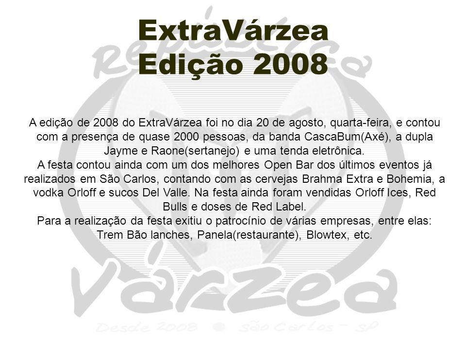 ExtraVárzea Edição 2008 A edição de 2008 do ExtraVárzea foi no dia 20 de agosto, quarta-feira, e contou com a presença de quase 2000 pessoas, da banda CascaBum(Axé), a dupla Jayme e Raone(sertanejo) e uma tenda eletrônica.