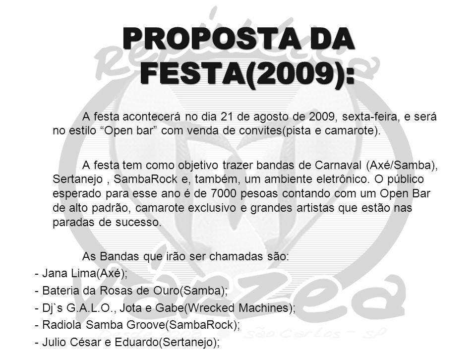 PROPOSTA DA FESTA(2009): A festa acontecerá no dia 21 de agosto de 2009, sexta-feira, e será no estilo Open bar com venda de convites(pista e camarote).
