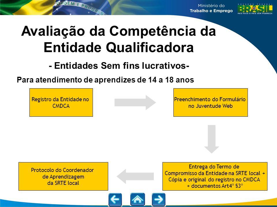 Para atendimento de aprendizes de 14 a 18 anos Avaliação da Competência da Entidade Qualificadora - Entidades Sem fins lucrativos- Preenchimento do Fo