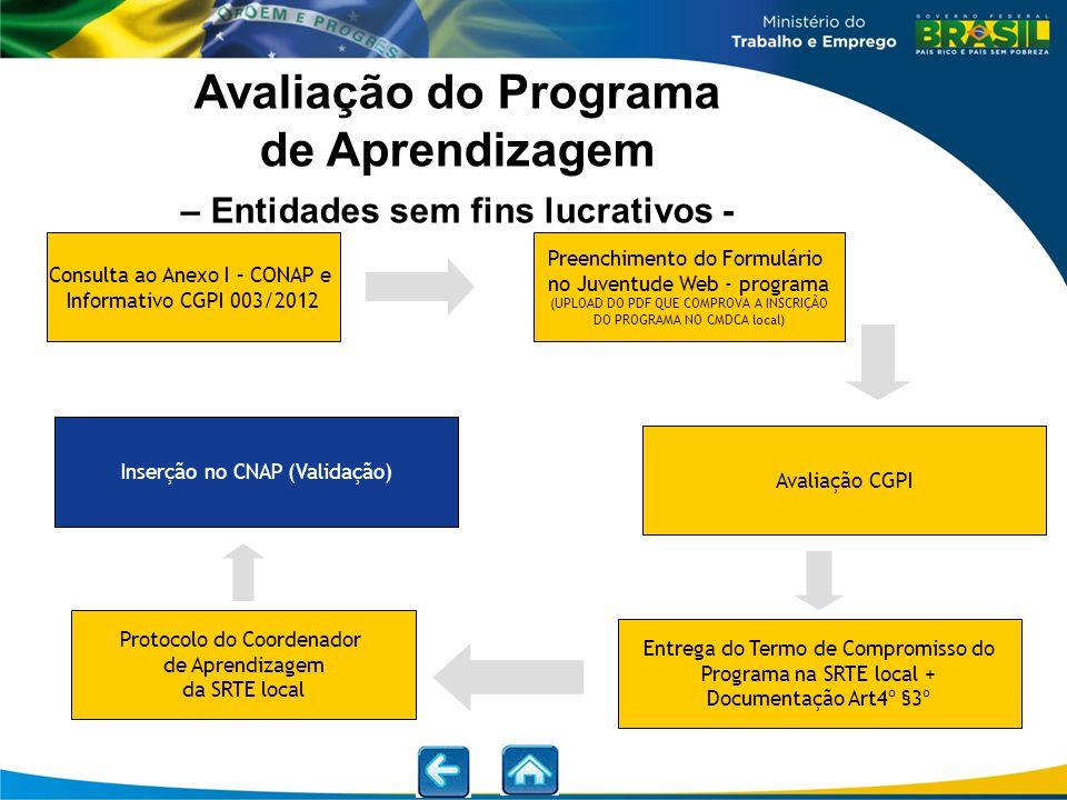 Avaliação do Programa de Aprendizagem – Entidades sem fins lucrativos - Consulta ao Anexo I – CONAP e Informativo CGPI 003/2012 Entrega do Termo de Co