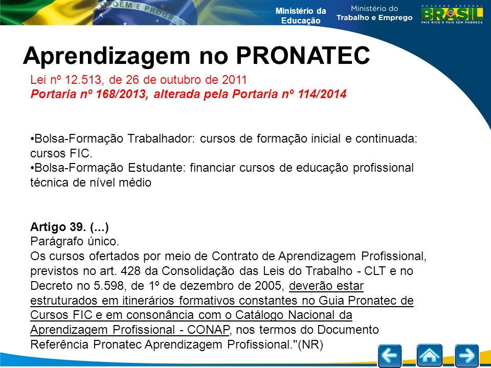 Lei nº 12.513, de 26 de outubro de 2011 Portaria nº 168/2013, alterada pela Portaria nº 114/2014 Bolsa-Formação Trabalhador: cursos de formação inicia