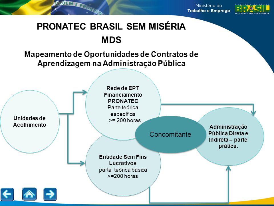 PRONATEC BRASIL SEM MISÉRIA MDS Mapeamento de Oportunidades de Contratos de Aprendizagem na Administração Pública Unidades de Acolhimento Administraçã