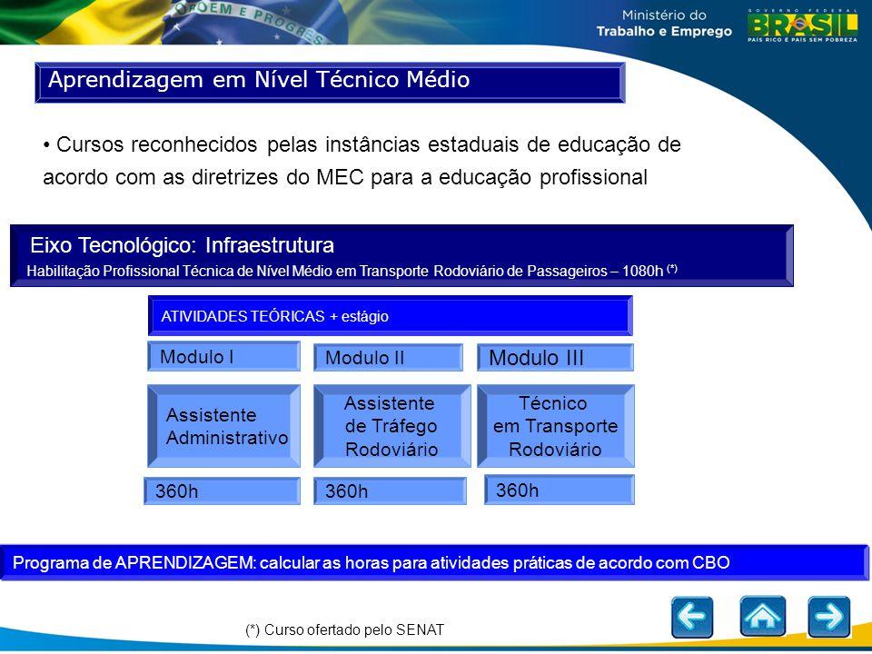 Aprendizagem em Nível Técnico Médio ATIVIDADES TEÓRICAS + estágio Modulo I Modulo III Assistente Administrativo Assistente de Tráfego Rodoviário Técni