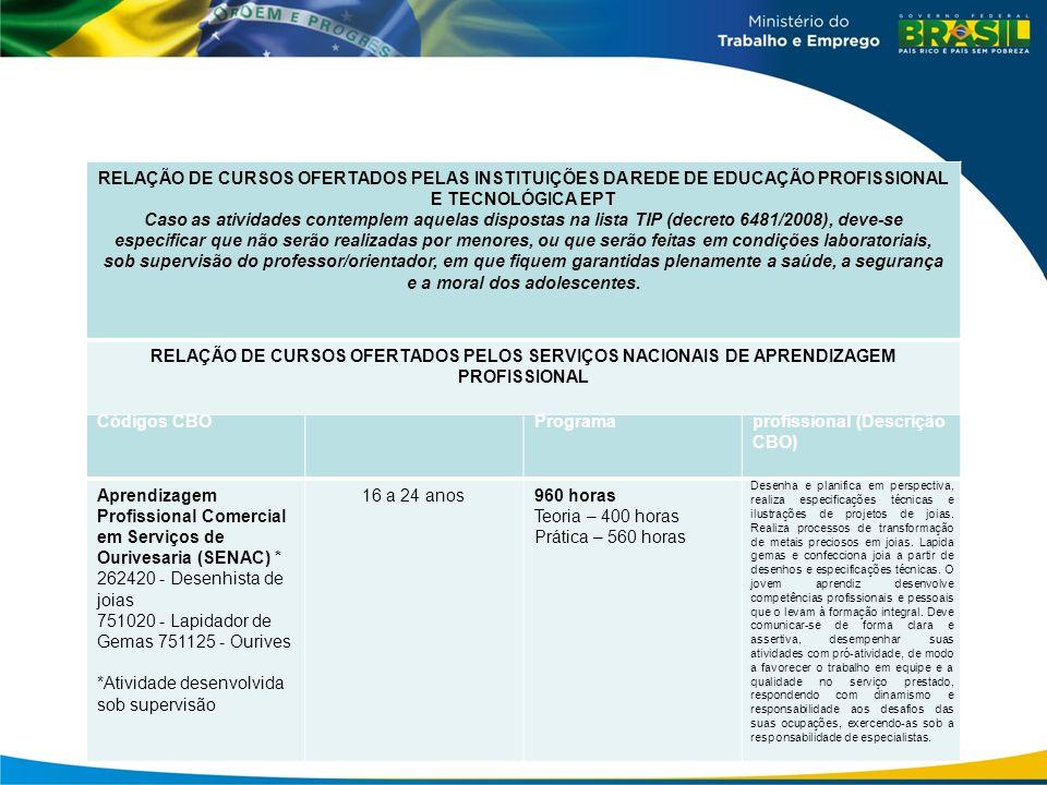 Grande grupo/Família / Códigos CBO Perfil do AprendizCarga Horária Total do Programa Perfil de formação profissional (Descrição CBO) Aprendizagem Prof