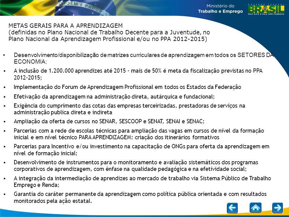 Desenvolvimento/disponibilização de matrizes curriculares de aprendizagem em todos os SETORES DA ECONOMIA; A inclusão de 1.200.000 aprendizes até 2015