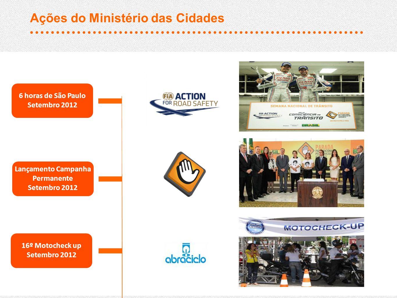 6 horas de São Paulo Setembro 2012 Lançamento Campanha Permanente Setembro 2012 16º Motocheck up Setembro 2012 Ações do Ministério das Cidades