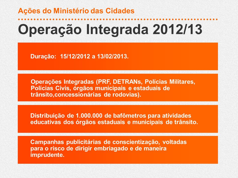 Duração: 15/12/2012 a 13/02/2013. Operações Integradas (PRF, DETRANs, Polícias Militares, Polícias Civis, órgãos municipais e estaduais de trânsito,co