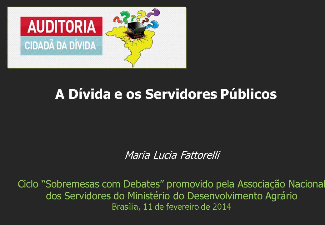 Maria Lucia Fattorelli Ciclo Sobremesas com Debates promovido pela Associação Nacional dos Servidores do Ministério do Desenvolvimento Agrário Brasília, 11 de fevereiro de 2014 A Dívida e os Servidores Públicos