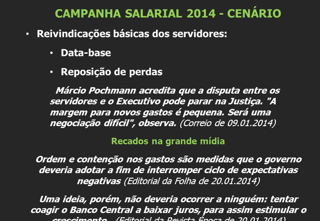 CAMPANHA SALARIAL 2014 - CENÁRIO Reivindicações básicas dos servidores: Data-base Reposição de perdas Márcio Pochmann acredita que a disputa entre os