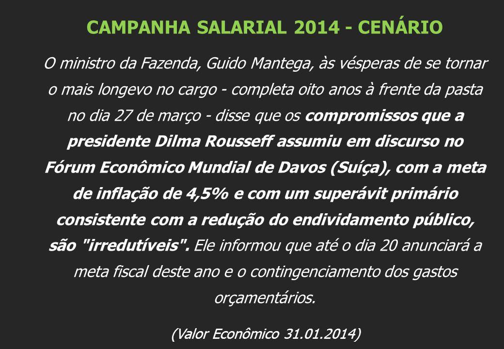 CAMPANHA SALARIAL 2014 - CENÁRIO O ministro da Fazenda, Guido Mantega, às vésperas de se tornar o mais longevo no cargo - completa oito anos à frente da pasta no dia 27 de março - disse que os compromissos que a presidente Dilma Rousseff assumiu em discurso no Fórum Econômico Mundial de Davos (Suíça), com a meta de inflação de 4,5% e com um superávit primário consistente com a redução do endividamento público, são irredutíveis .