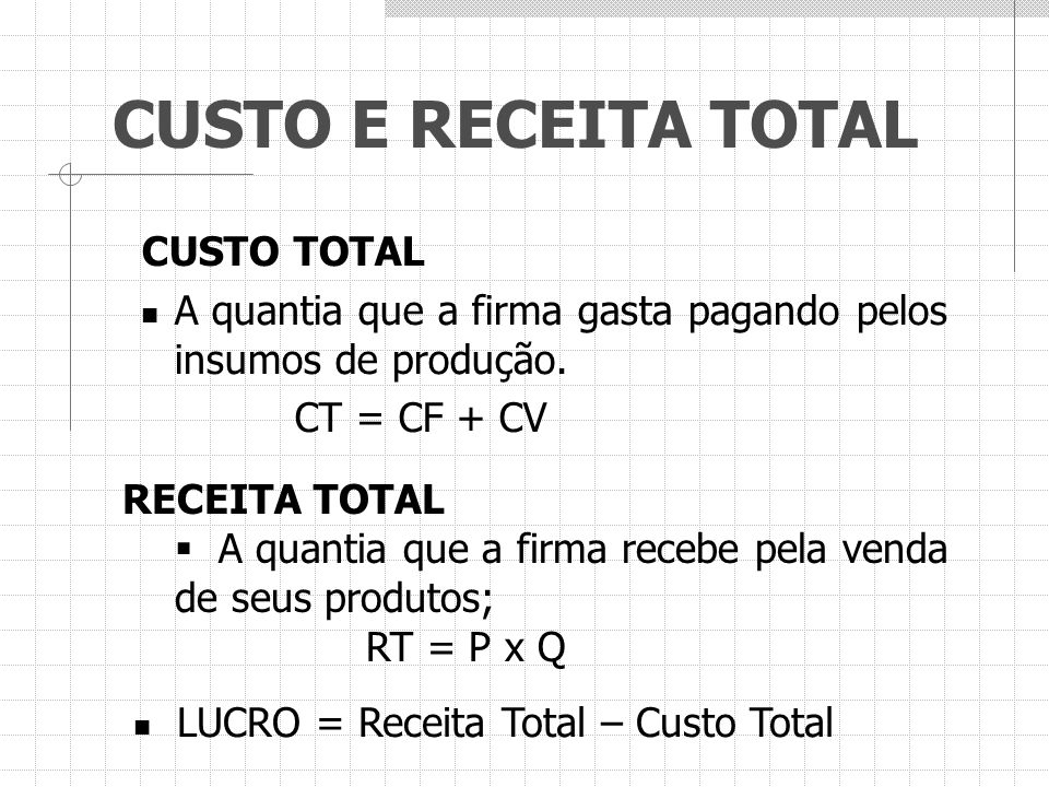 CUSTO E RECEITA TOTAL CUSTO TOTAL A quantia que a firma gasta pagando pelos insumos de produção. CT = CF + CV RECEITA TOTAL  A quantia que a firma re