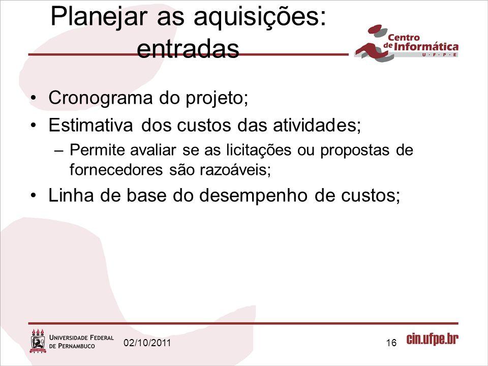 Planejar as aquisições: entradas Cronograma do projeto; Estimativa dos custos das atividades; –Permite avaliar se as licitações ou propostas de fornec
