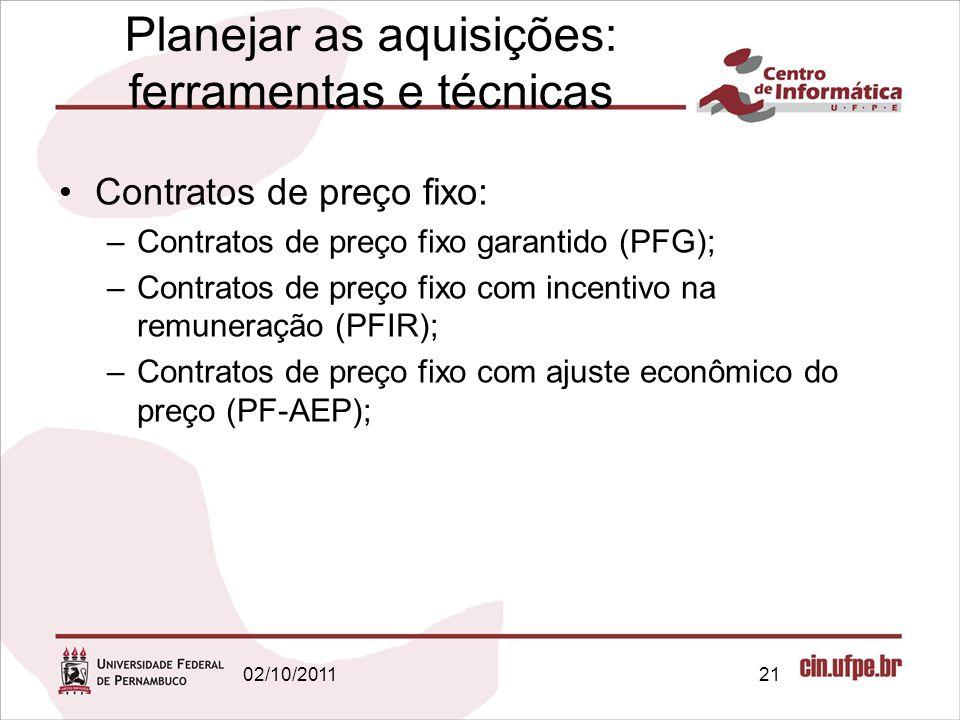 Planejar as aquisições: ferramentas e técnicas Contratos de preço fixo: –Contratos de preço fixo garantido (PFG); –Contratos de preço fixo com incenti
