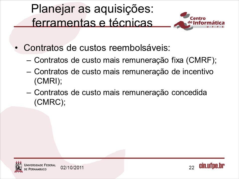 Planejar as aquisições: ferramentas e técnicas Contratos de custos reembolsáveis: –Contratos de custo mais remuneração fixa (CMRF); –Contratos de cust