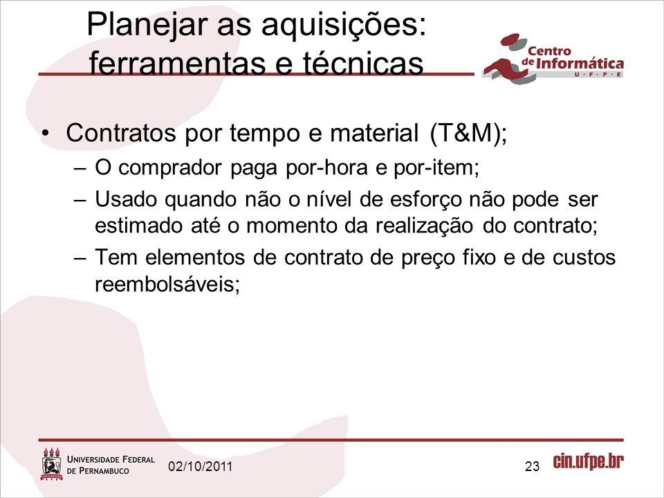 Planejar as aquisições: ferramentas e técnicas Contratos por tempo e material (T&M); –O comprador paga por-hora e por-item; –Usado quando não o nível