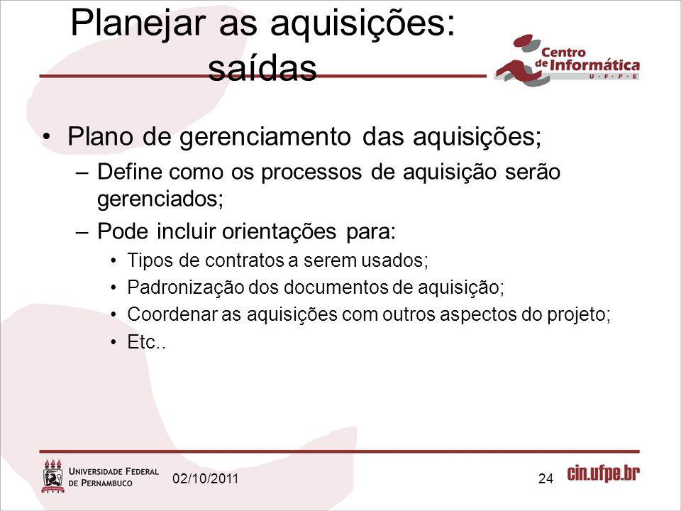 Planejar as aquisições: saídas Plano de gerenciamento das aquisições; –Define como os processos de aquisição serão gerenciados; –Pode incluir orientaç